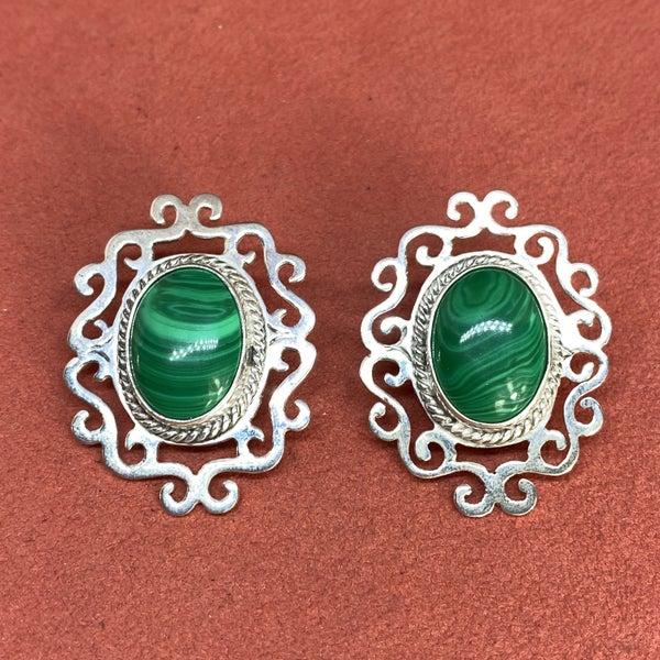 Malachite Scroll Earrings