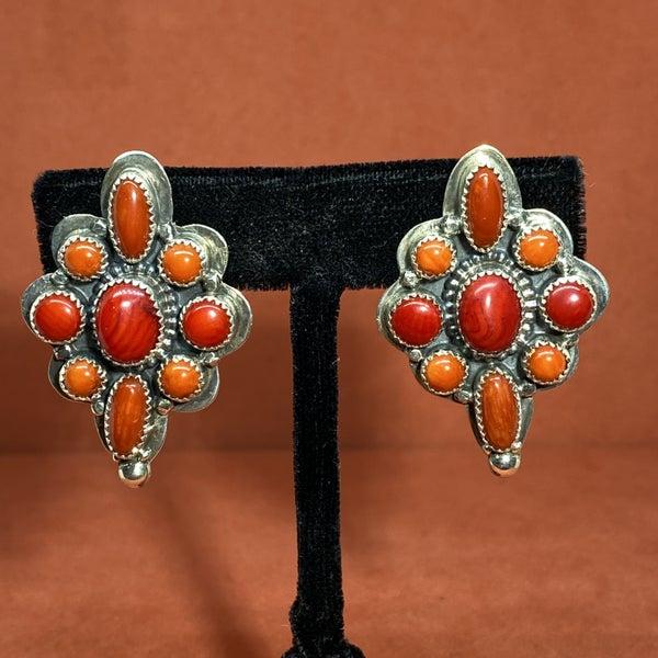 Coral Shield Post Earrings