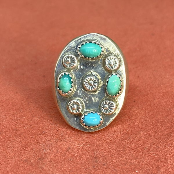 Floral Turquoise Cluster Ring