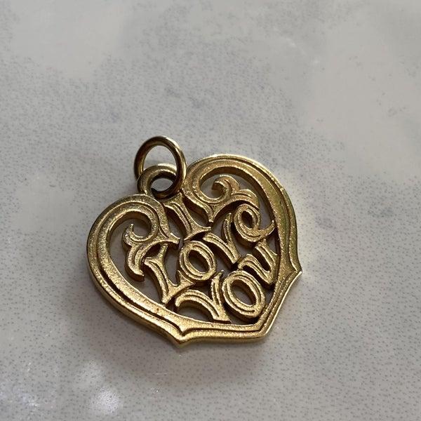 Retired James Avery I Love You Heart Pendant Charm 14k Gold