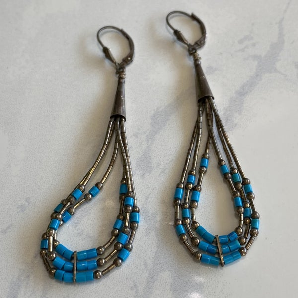 Beautiful Turquoise & Liquid Silver Earrings