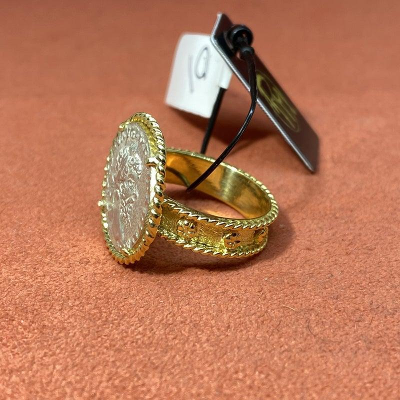 Raymond Mazza 14K Green Ring With Serverus Coin