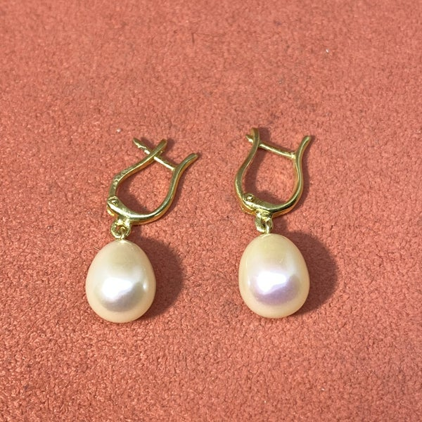 Raymond Mazza 14K Green Gold Pearl Earrings