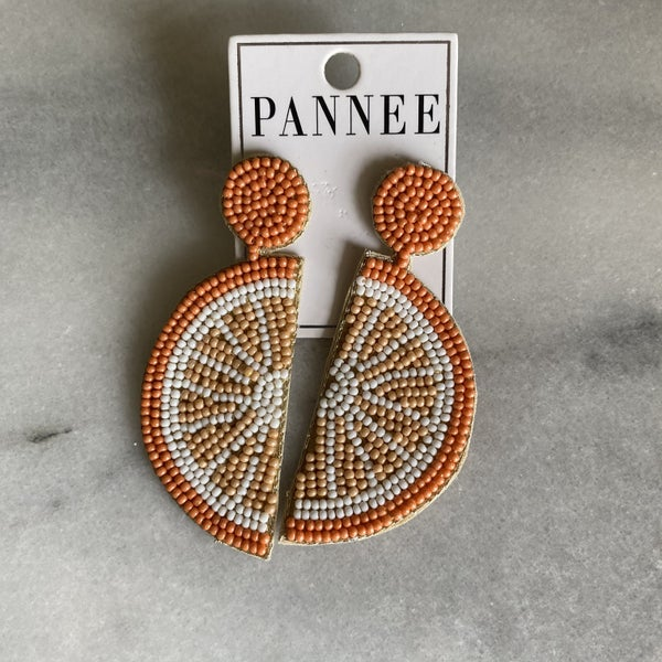 Sweet Summertime Beaded Citrus Earrings
