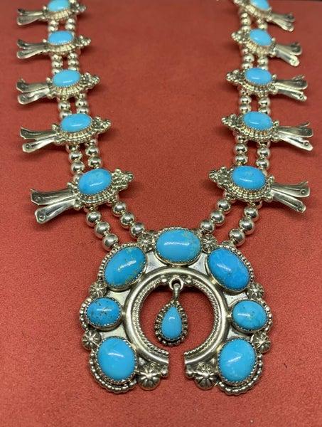 Sky Blue Squash Blossom Necklace