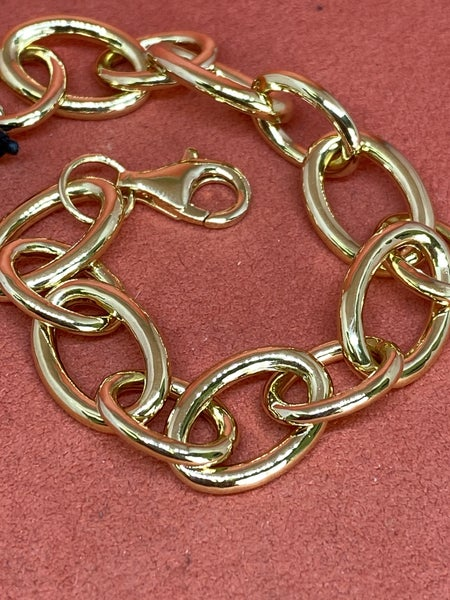 Raymond Mazza Oval Link Bracelet Forever 14k Gold Plate