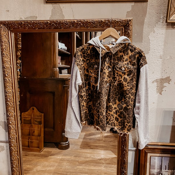 Leopard Distressed Snap Jacket with Knit Hoodie