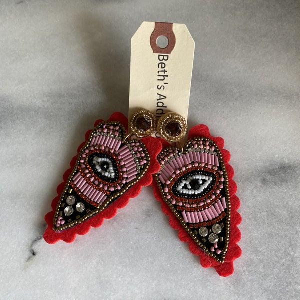 Eye of the Beholder Beaded Heart Earrings