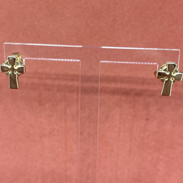 James Avery Celtic Cross Stud Earrings 14k Gold *display
