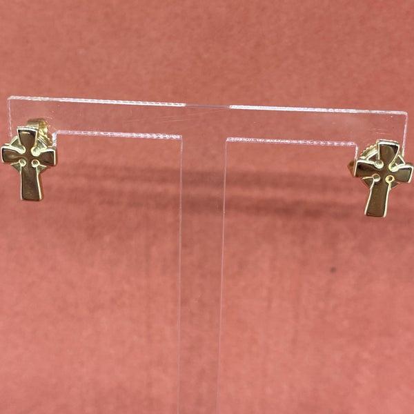 James Avery Celtic Cross Stud Earrings 14k Gold *display