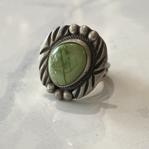 Sandcast Green Turquoise Ring