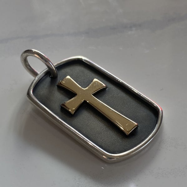 Retired James Avery Two Tone Cross Pendant