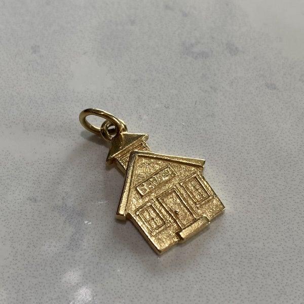 Retired James Avery School House Charm 14k Gold