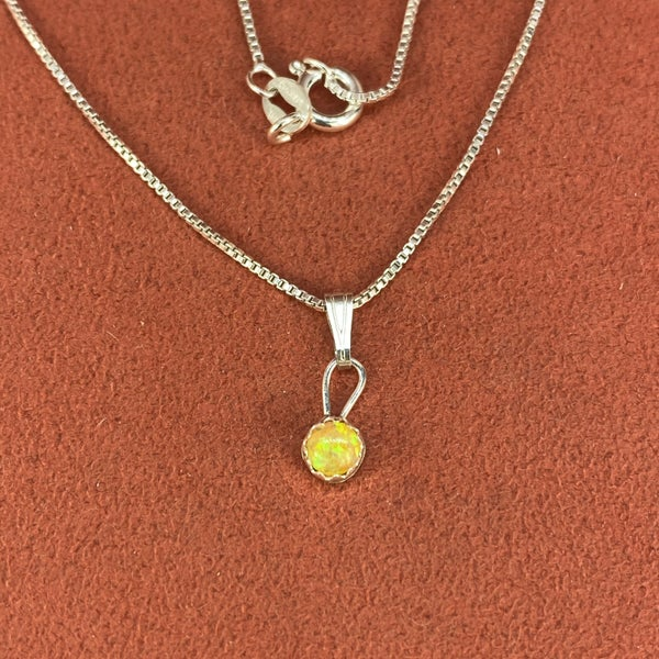 Mini Opal Pendant on Chain
