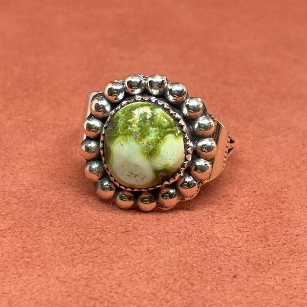 Sterling Silver Dot Detail Ring w/ Senoran Gold Turquoise