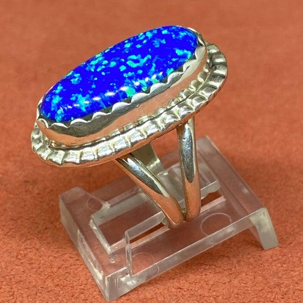Blue Opal Dainty Ring