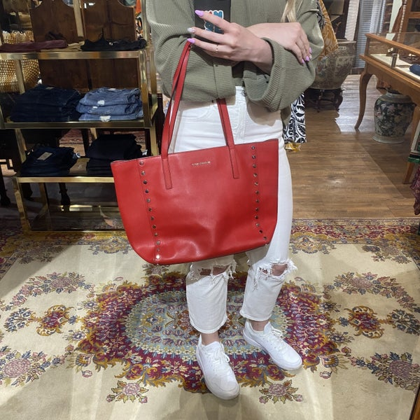 Michael Kors Red Studded Leather Tote Bag w/ Matching Wallet