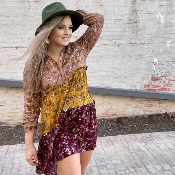 Tiered Autumn Floral Dress