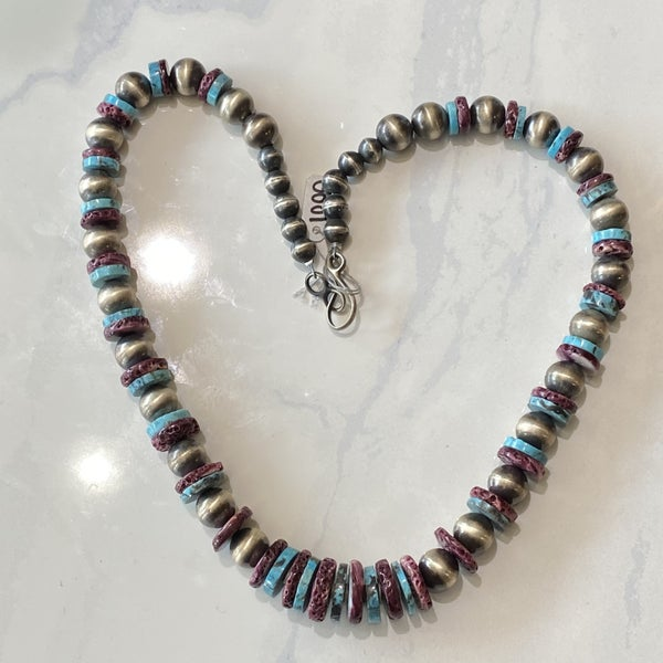 Native American Navajo Pearl Necklace w/ Turquoise & Spin Oyster