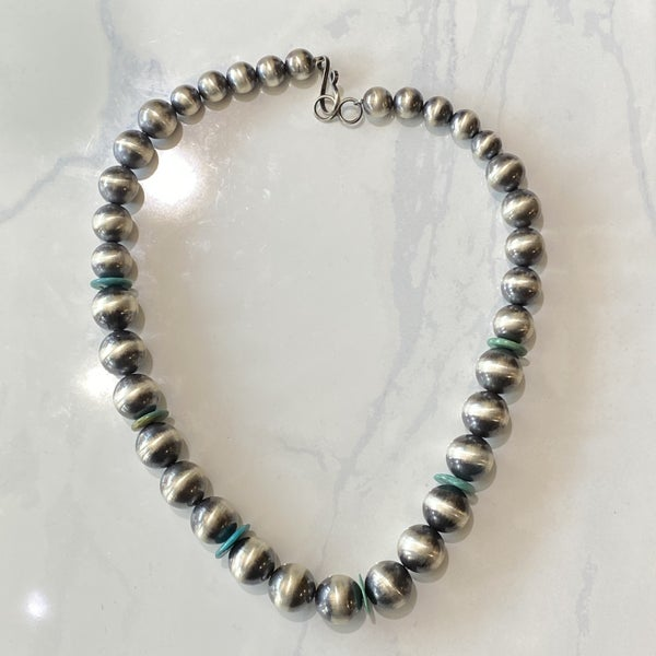 Native American Navajo Pearl Necklace w/ Turquoise
