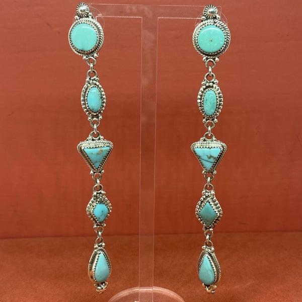 Long Multi Shape Turquoise Dangles