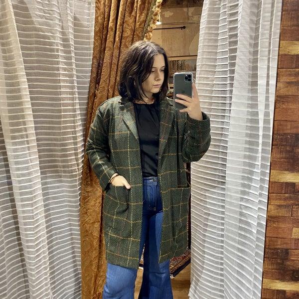 Dapper Plaid Cardigan Coat