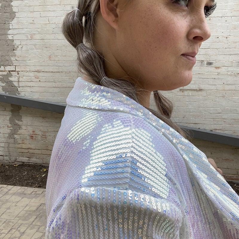 Iridescent Long Sleeve Sequin Blazer