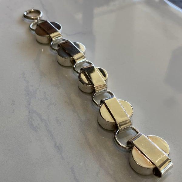 Modernist Silver Circle Link Bracelet