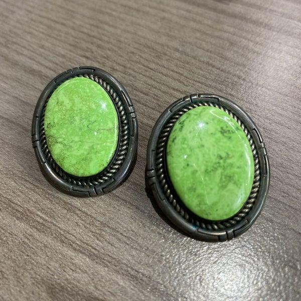 Vintage Green Gaspeite Earrings