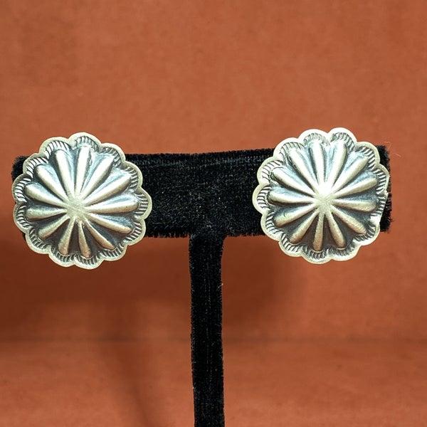 Sterling Silver Concho Post-Back Earrings