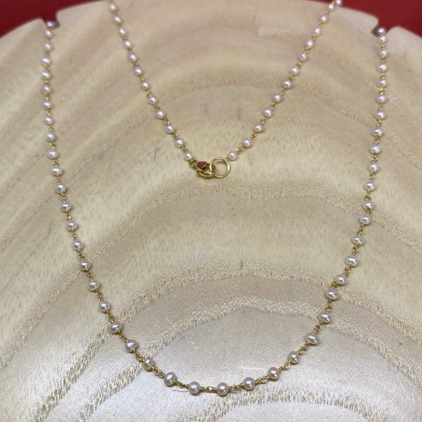 Raymond Mazza Pearl Chain Necklace 14k Gold