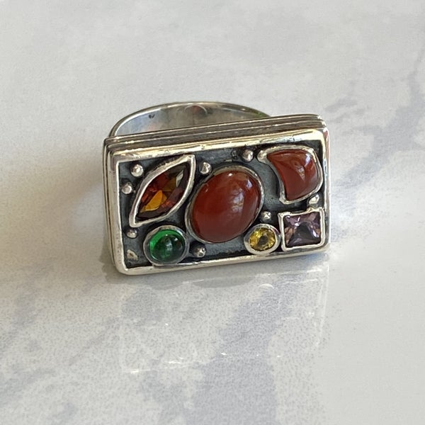 Silver Multi Gem Stone Ring