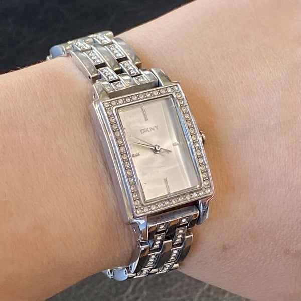 DKNY Silver Dial Crystal Stone Sets Ladies Watch
