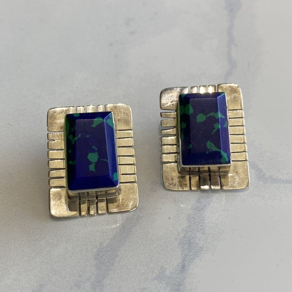 Vintage Taxco Mexico Blue Stone Clip On Earrings