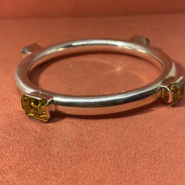 Vintage Mexican Modernist Bangle Bracelet w/ Yellow Glass