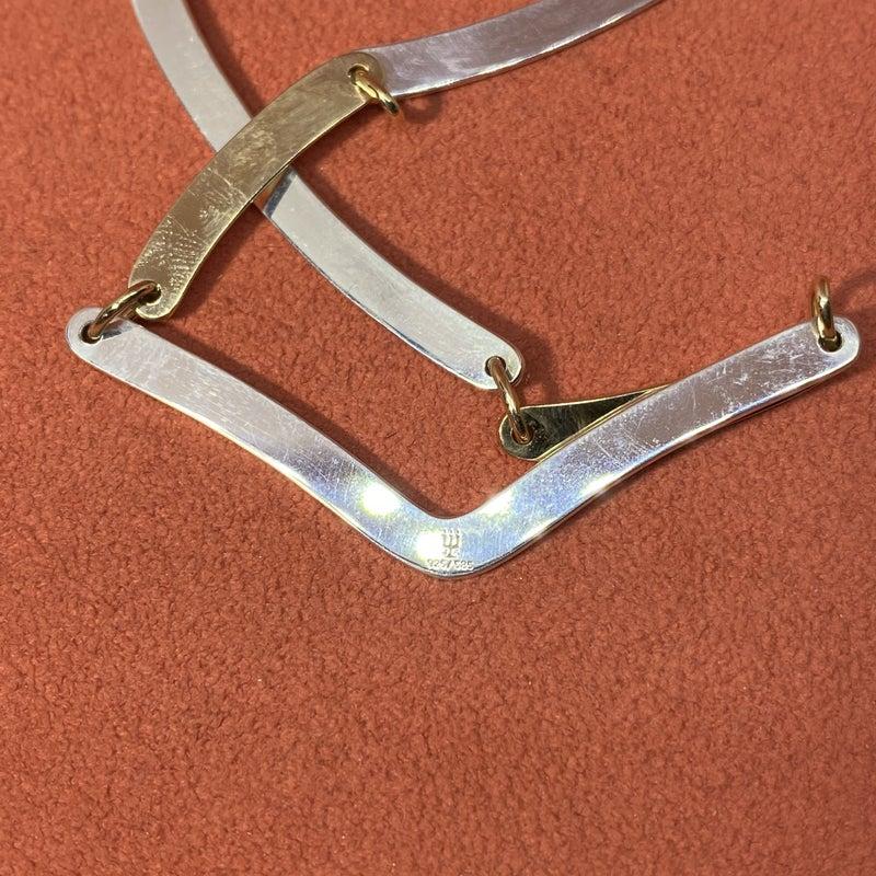 Retired James Avery Bone Link Necklace 14k Gold Sterling Silver