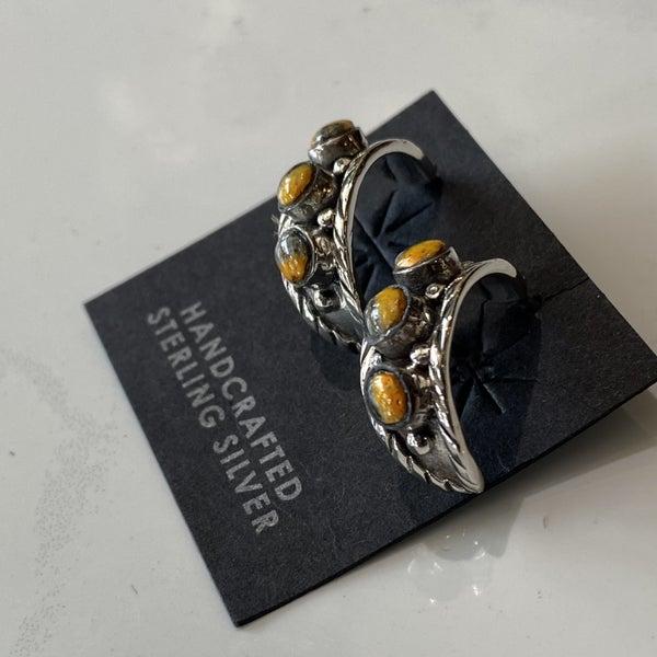 Lovely Bumblebee Jasper Half Hoop Earrings