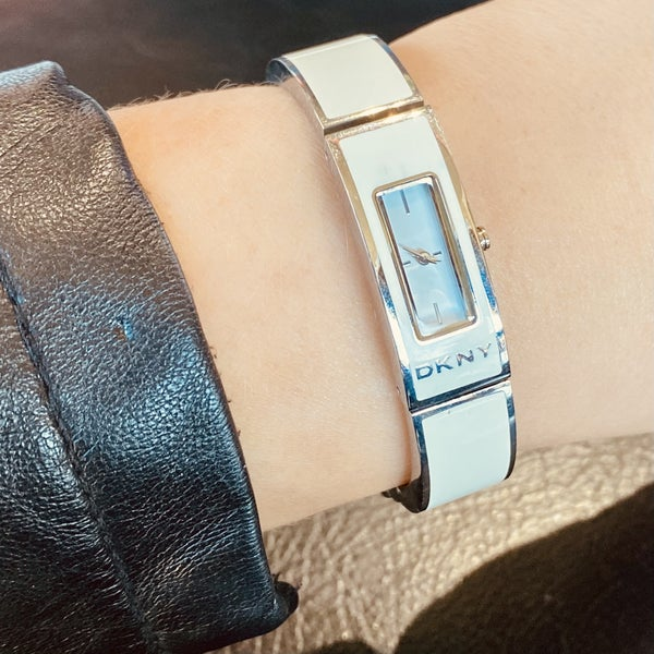 DKNY White Enamel Rectangle Bangle Women's watch