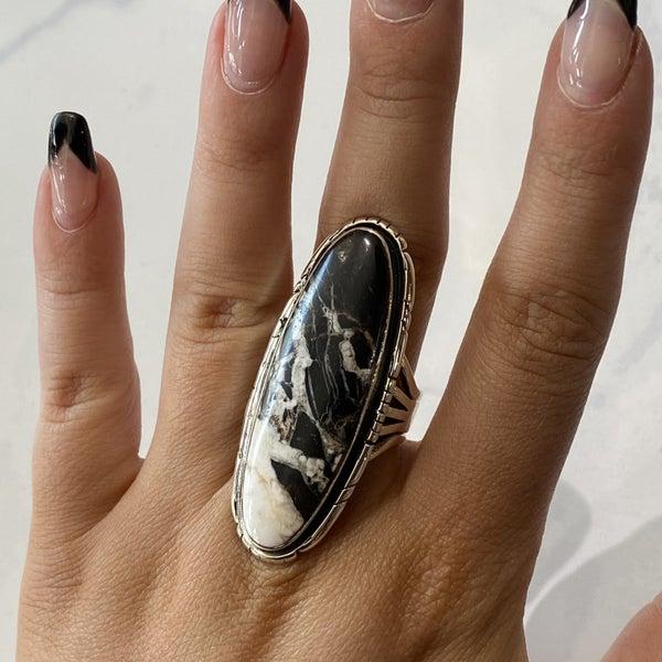 Lovely White Buffalo Long Ring