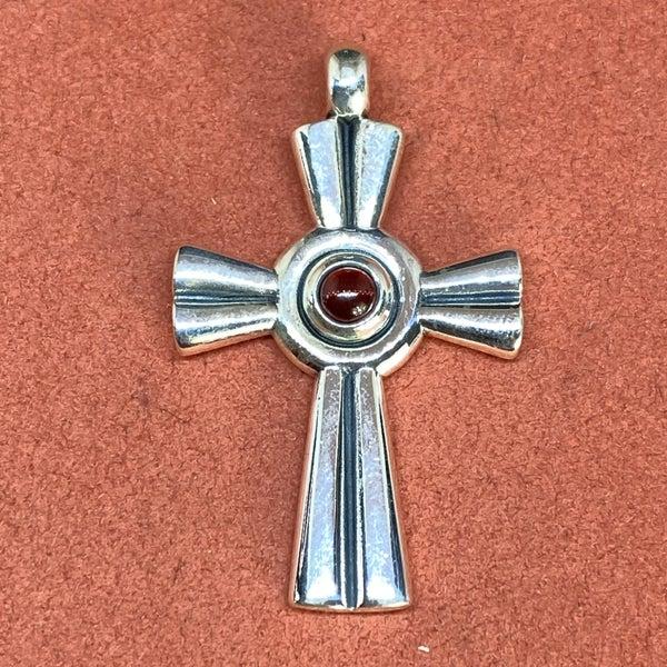 Retired James Avery Garnet Cross Pendant
