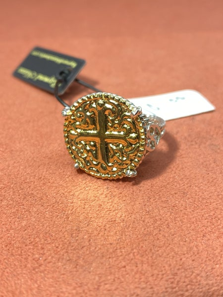 Raymond Mazza Sterling Silver Ring With Cross/Forever Gold Plate