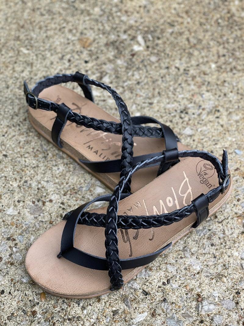 Blowfish Black Foxtail Sandals