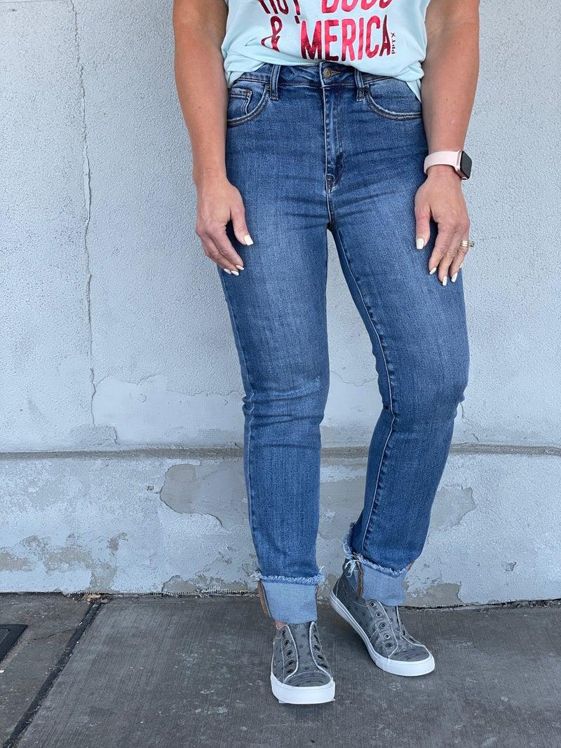 Risen Dana Clean Cuffed Straight Leg Jeans 410