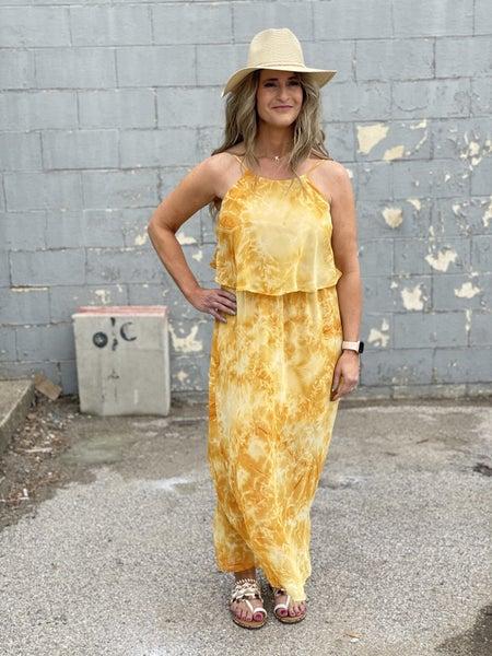 Flirty Golden Sunburst Dress