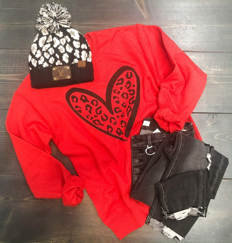 Red Animal Heart Sweatshirt