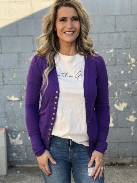 Snappy Cardigan Purple *Final Sale*