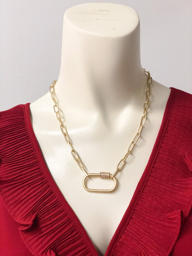 Posh Bling Paperclip Necklace