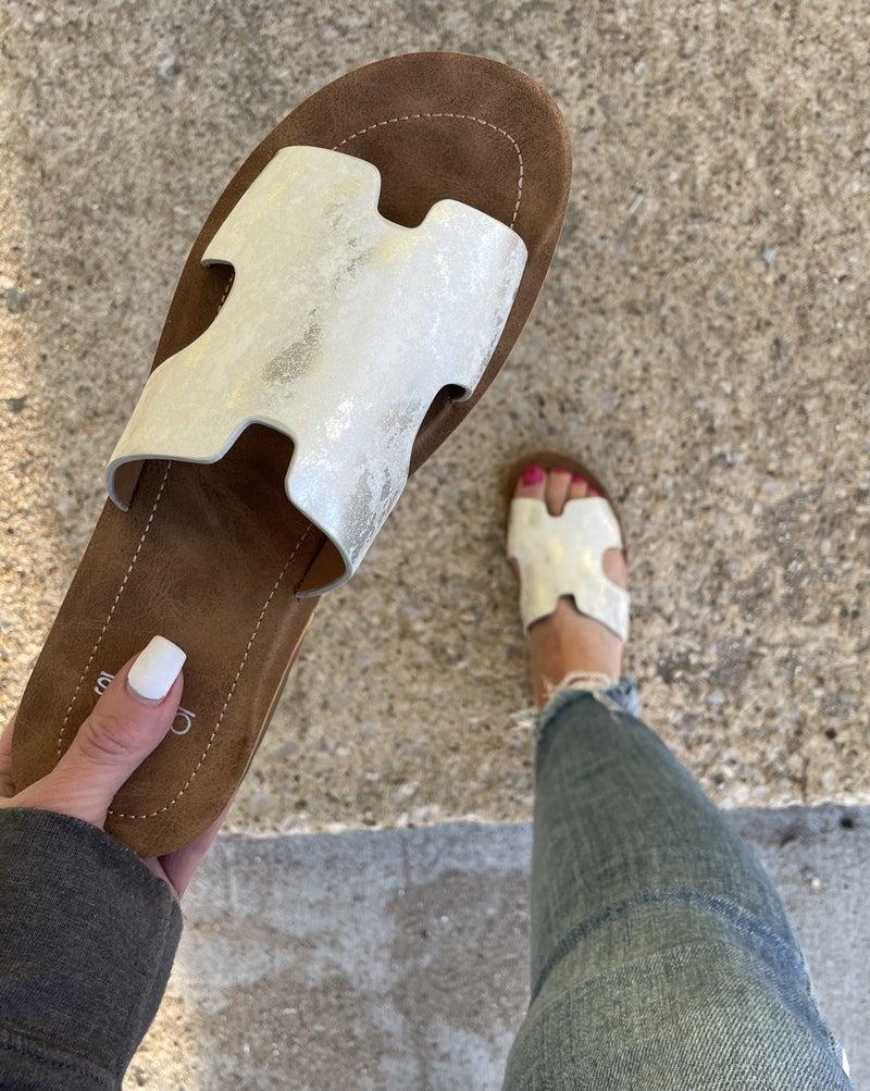 Bogal White Metallic Slide Sandal *Final Sale*