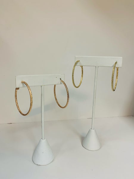 Diamond Blast Hoop Earrings