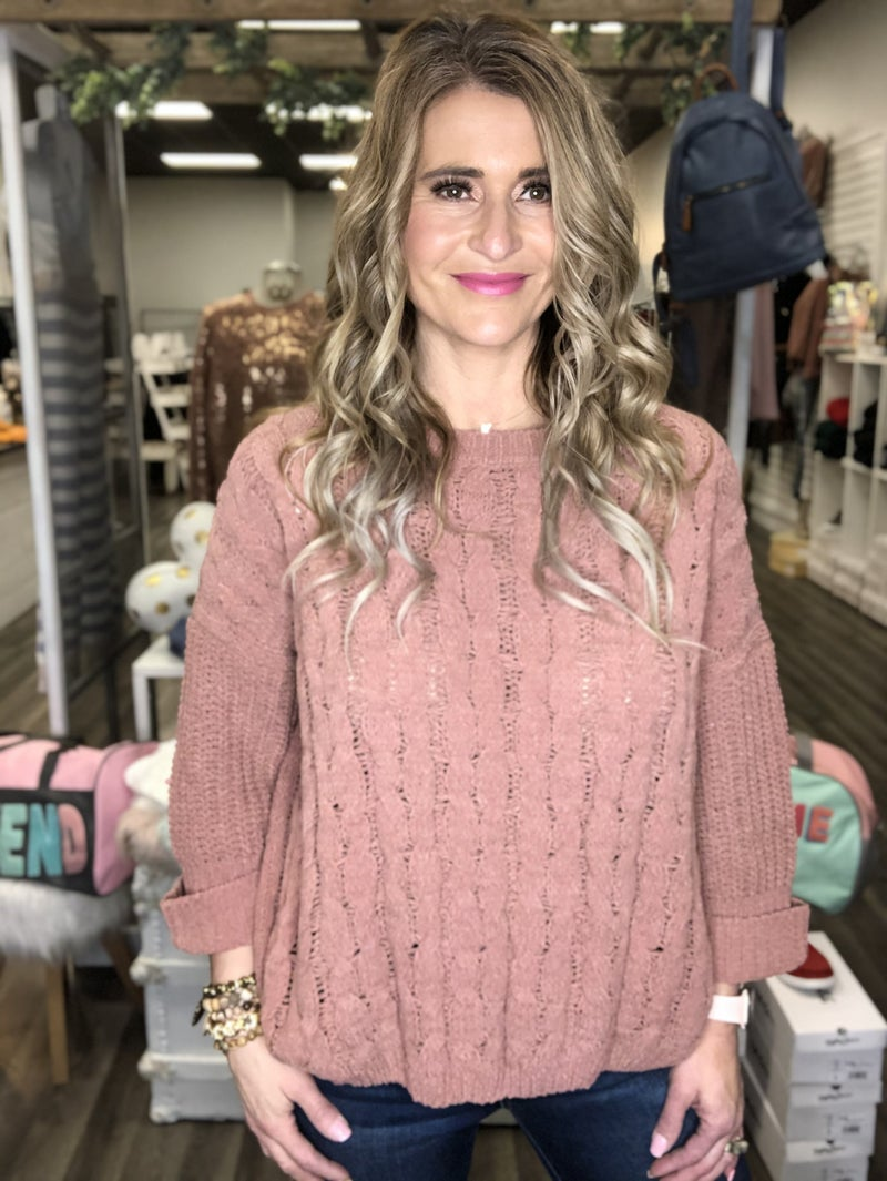 Mauve Softest Cable Knit Sweater